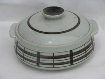 Retro vintage 70s Japan stoneware bean pot or covered casserole