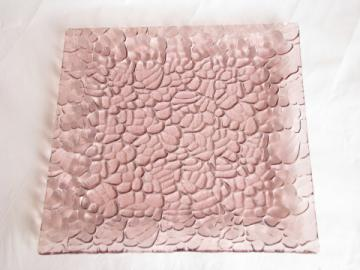Retro vintage amethyst pink pebble textured glass plate, mod square shape