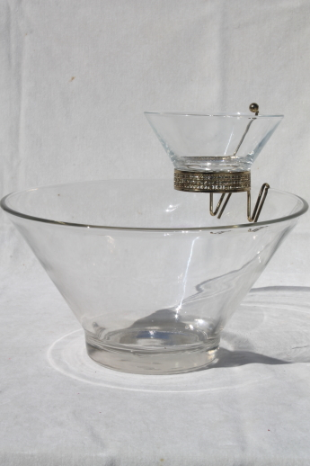 Retro Vintage Anchor Hocking Clear Glass Chip Amp Dip Bowls Set W Mod Flared Shape