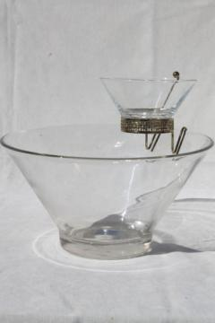 Retro vintage Anchor Hocking clear glass chip & dip bowls set w/ mod flared shape