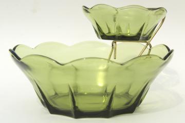 retro vintage avocado green glass chip & dip set, mod flower shape bowls w/ metal rack