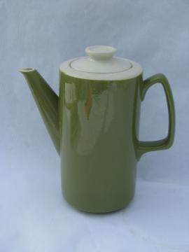 Retro vintage avocado green / white pottery coffee pot, 60s mod shape