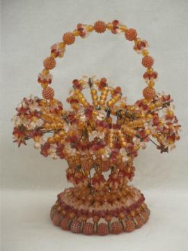 Retro vintage beaded flower basket, amber plastic beaded safety pin basket