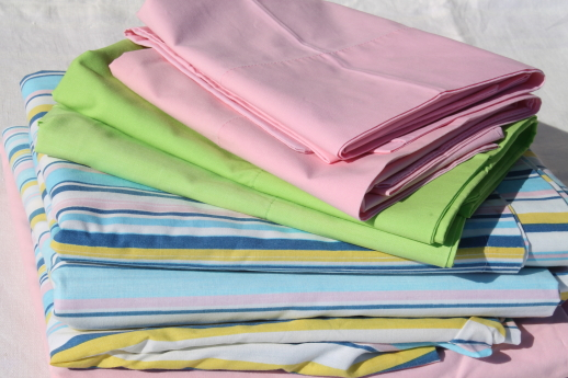 Retro Vintage Bedding, Bed Sheets U0026 Pillowcases   Pink, Green, Candy Stripe