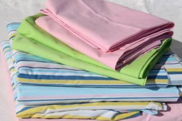 Retro vintage bedding, bed sheets & pillowcases - pink, green, candy stripe
