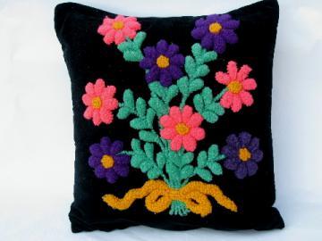 Retro vintage black cotton velvet pillow, funky chenille flowers