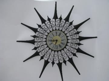 Retro vintage black metal atomic starburst clock, gothic mod