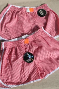 Retro vintage boys 14-16 red gingham checked shorts, new old stock w/ tags