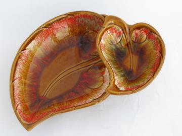Retro vintage California studio pottery two-tier autumn leaf art dish