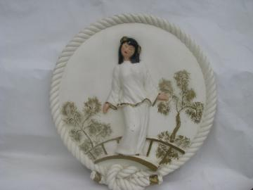 Retro vintage chalkware wall plaque picture, Chinese girl garden bridge