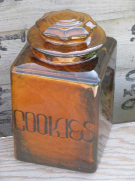 Retro vintage cookie jar, big kitchen counter canister lettered Cookies