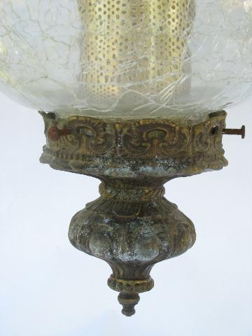 Retro Vintage Crackle Glass Hanging Swag Lamp W Metal