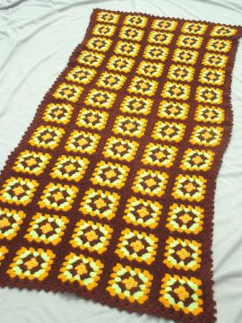 Retro vintage crochet granny square afghan, warm fall colors brown & gold