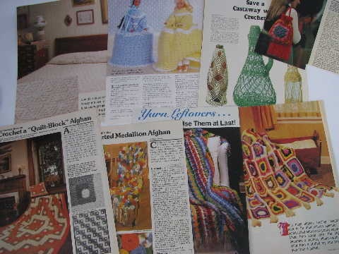 Retro vintage crochet needlework patterns, old magazine clippings lot