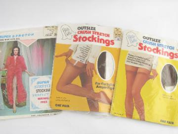 Retro vintage crush nylon super stretch stockings lot, suntan & pink