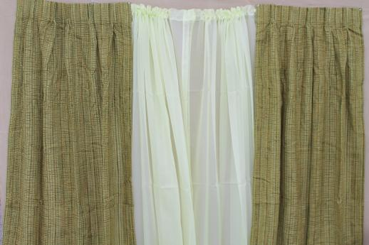 Retro Vintage Curtains For Large Window, 60s Olive Green Tweed Drapes U0026  Pale Celery Sheers