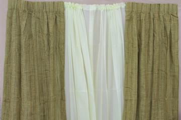 retro vintage curtains for large window, 60s olive green tweed drapes & pale celery sheers
