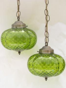 Retro vintage double light swag lamp, melon shape glass shades, lime green!