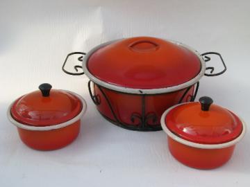 Retro vintage flame red enameled steel pans, casserole, individual ramekins