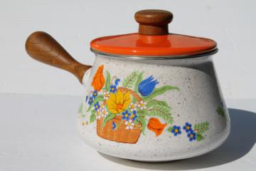 Retro vintage flowered enamel sauce pan or fondue pot w/ warming stand