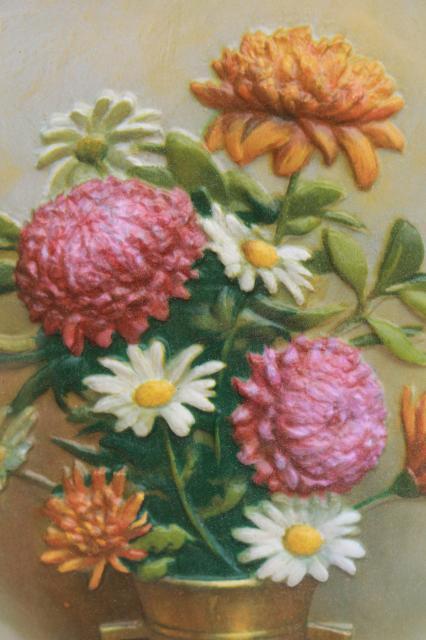Retro Vintage Framed Floral Pictures 3 D Dimension Plastic Blow