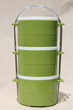 retro vintage green plastic tiffin, bento picnic lunch box w/ stacking container
