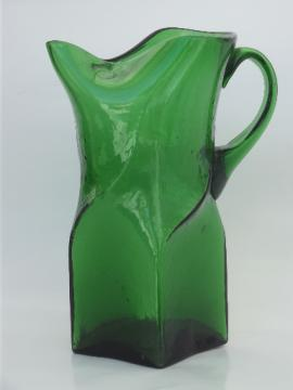 Retro vintage hand blown glass pitcher, mod square shape cocktail pitcher