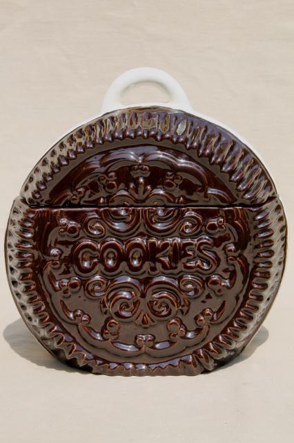 retro vintage handmade ceramic cookie jar, giant Oreo