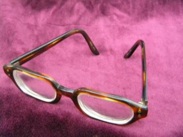 Retro vintage Harlequin eyeglasses frames, faux tortoise shell plastic
