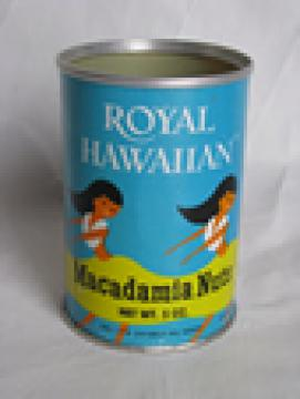 Retro vintage Hawaii macadamia nuts advertising can w/ great hula girls graphics