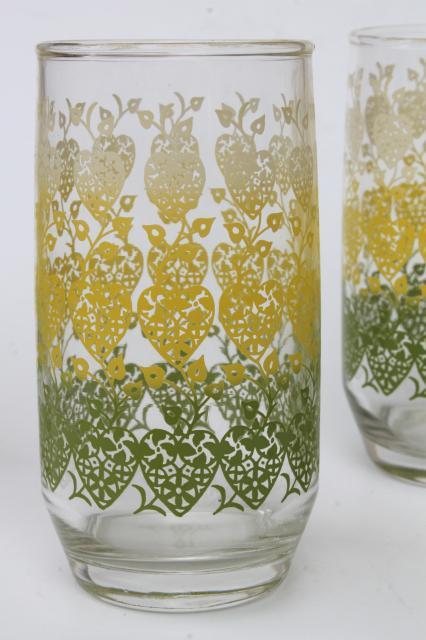 Retro Vintage Hearts Amp Flowers Print Drinking Glasses Mid Century Mod Tumblers Set