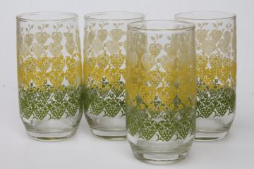 retro vintage hearts & flowers print drinking glasses, mid-century mod tumblers set