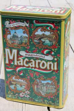 Retro vintage kitchen canister tin for macaroni, pantry storage tin