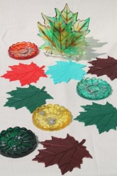 retro vintage lucite plastic coasters, fall leaves & flowers in harvest colors