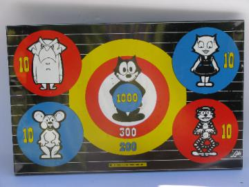 Retro vintage magnetic travel dart game board, darts target Felix the Cat