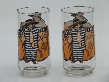 Retro vintage McDonald's glasses, Hamburglar character drinking glasses
