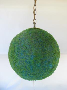 Retro vintage mod spaghetti string swag lamp, blue green globe light shade