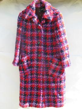 Retro vintage nubby mohair wool plaid coat, purple / red / navy blue