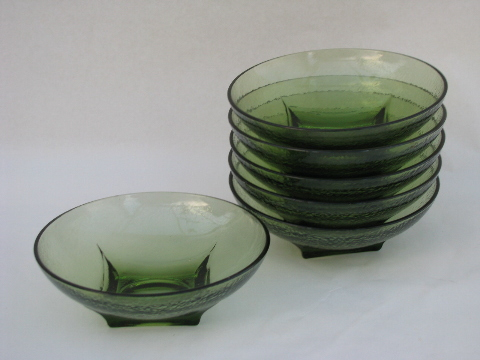 Retro Vintage Orange Peel Glass Salad Bowls Set Green