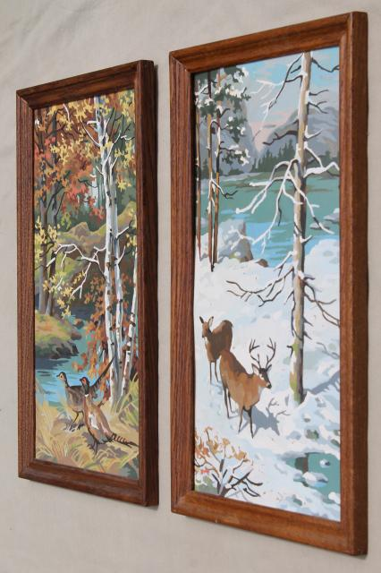 Retro Vintage Paint By Number Pictures Four Seasons Wall