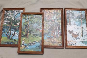 retro vintage paint by number pictures, four seasons wall art set paint by numbers