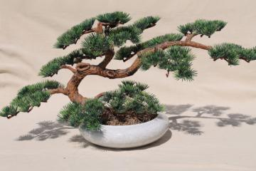 retro vintage plastic bonsai tree, mid-century modern decor, zen style mod!