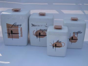 Retro vintage plastic kitchen canisters set, mod kitchenware design