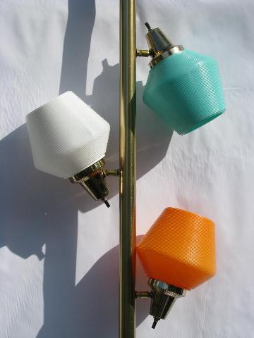 Retro Vintage Pole Lamp W Mod Colored Plastic Light