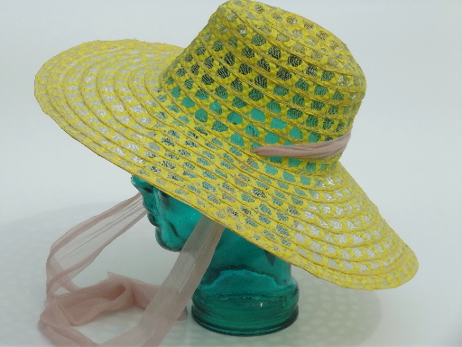 Retro vintage sheer lace hat, wide brimmed summer garden party hat w/ ties