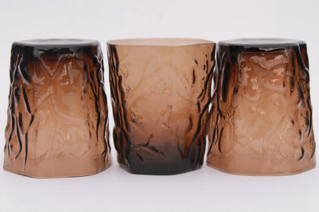 Retro Vintage Smoke Brown Seneca Driftwood Crinkle Glass