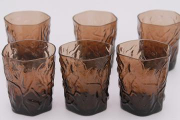 retro vintage smoke brown Seneca driftwood crinkle glass tumbler drinking glasses