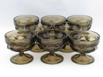 Retro vintage smoke brown glass sherbet glasses, set of 8