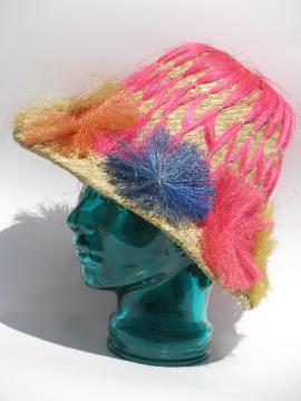 Retro vintage straw beach bum hat, tropical flowers, tiki bar style!