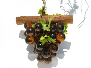 Retro vintage swag lamp, groovy amber lucite grapes bunch grape cluster